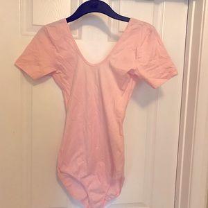 Baby pink short sleeved bodysuit -large